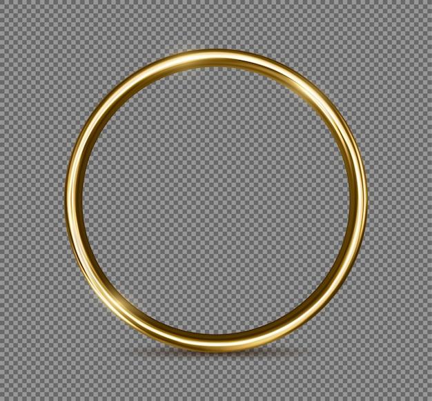 Goldener ring lokalisiert auf transparentem hintergrund. realistisch