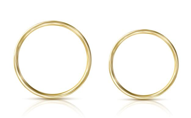 Goldener ring lokalisiert auf weißem hintergrund. realistisch
