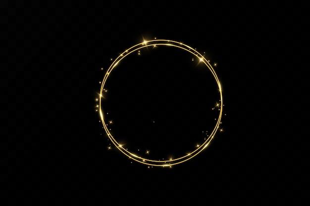 Goldener ring. luxus funkelnder rahmen.