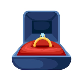 Goldener ring mit diamant in blauem samt geöffnet geschenkbox