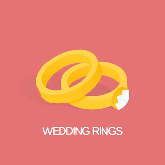 Goldener ring und ring mit großer, glänzender diamantvektorillustration.
