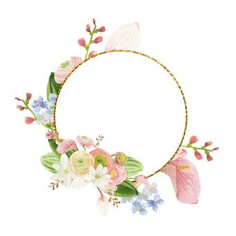 Goldener runder rahmen mit rosa aquarellblumen