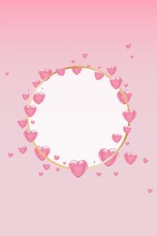 Goldener runder rahmen mit rosa herzen auf rosa hintergrund