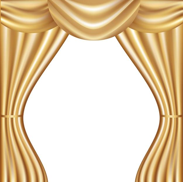 Goldener samtvorhang mit lichtern und schatten