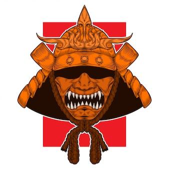 Goldener samurai-krieger-kriegshelm