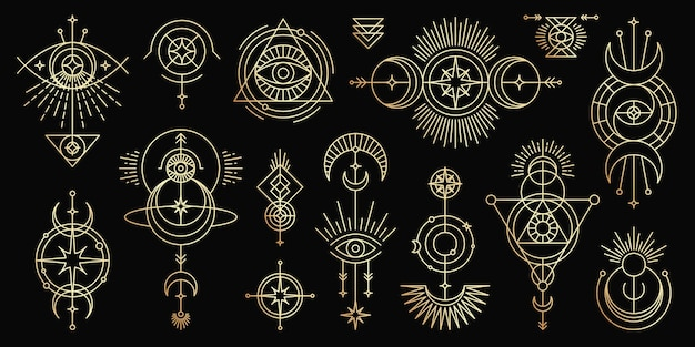 Goldener satz mystischer magischer symbole. spirituelle okkultismus-linienobjekte trendiger minimalstil.