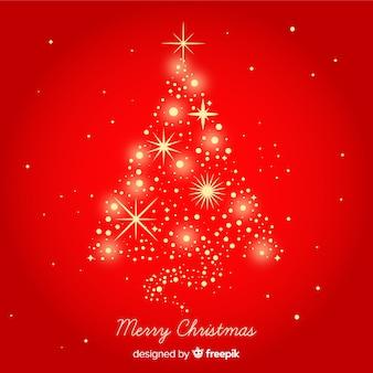Goldener schein weihnachtsbaumhintergrund