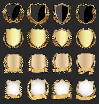 Goldener schild mit goldenen lorbeeren