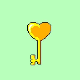 Goldener schlüssel im pixel-art-stil mit liebesform