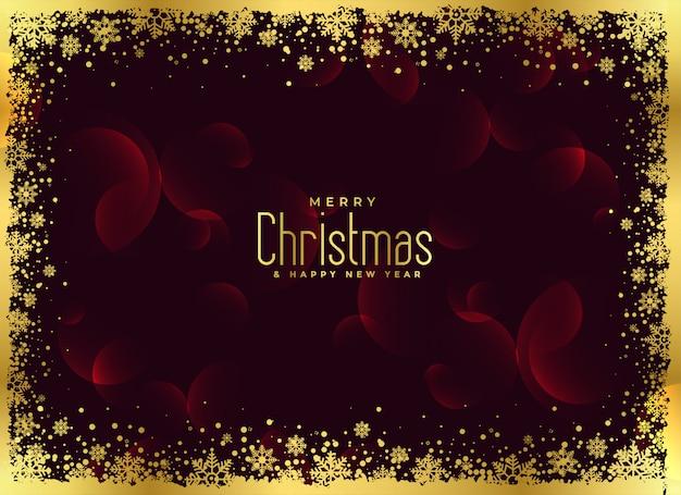 Goldener schneeflockenrahmen-weihnachtshintergrund