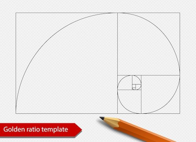 Goldener schnitt liniendiagramm vorlage vektor-illustration. symbol für die form der fibonacci-spirale. auf transparentem hintergrund isoliert.