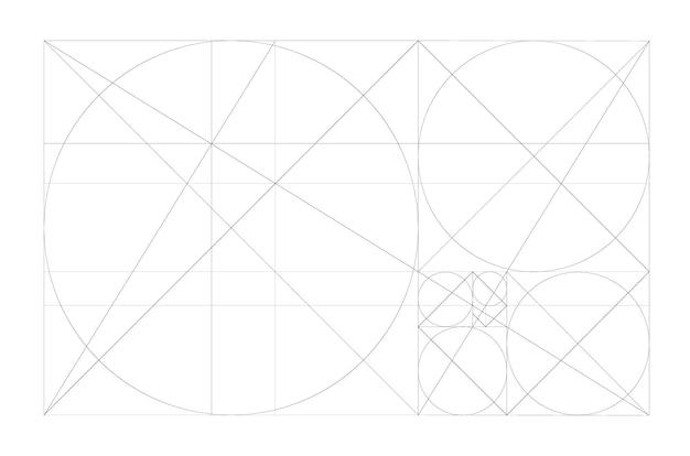 Goldener schnitt minimalistischer stil design geometrische figuren futuristisches design logo vektor icon
