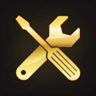 Goldener schraubenschlüssel und schraubendreher-symbol lokalisiert auf dunkelheit
