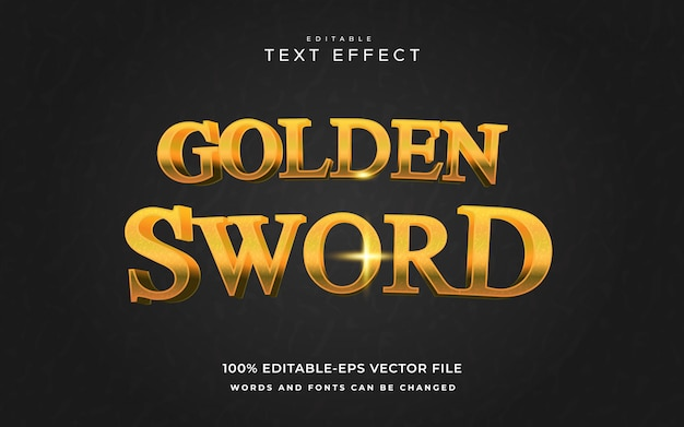 Goldener schwerttext-effekt