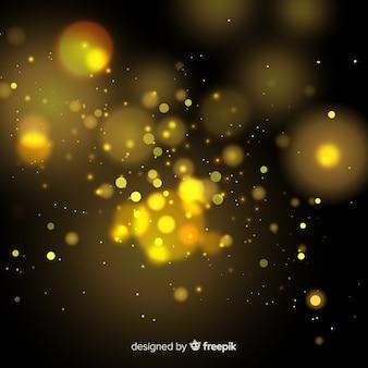 Goldener schwimmender partikeleffekt