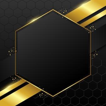 Goldener sechseckiger luxusrahmen mit farbverlauf