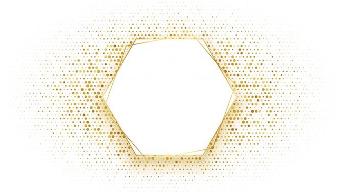 Goldener sechseckiger rahmen mit glitzerhintergrund