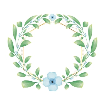 Goldener sechseckrahmen mit blauem aquarellblumenblumenkranz