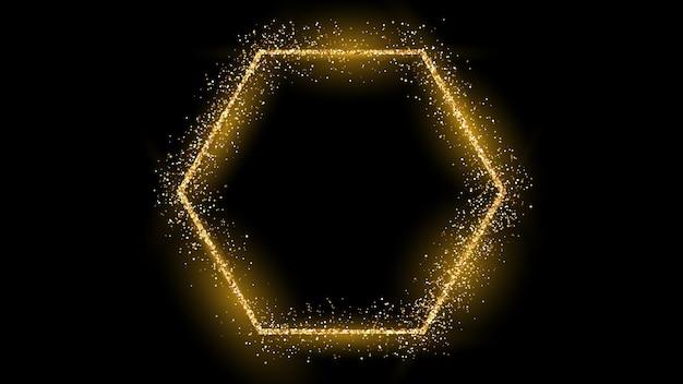 Goldener sechskantrahmen mit glitzer, funkeln und fackeln auf dunklem hintergrund. leere luxuskulisse. vektor-illustration.