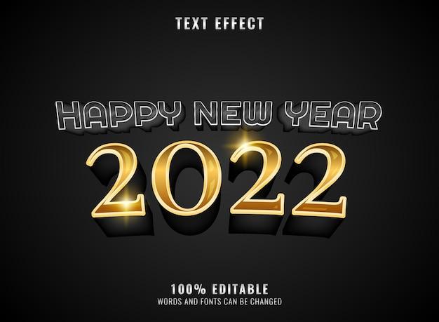 Goldener silberner luxus 2022 bearbeitbarer texteffekt des neuen jahres