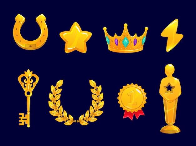 Goldener spiel-asset-kranz, stern, hufeisen und krone, medaille, schlüssel mit blitz- und preisstatue-symbolen. cartoon-vektorrate-ui-elemente für app-schnittstelle und ergebnisanzeige, gewinnerleistungssymbole