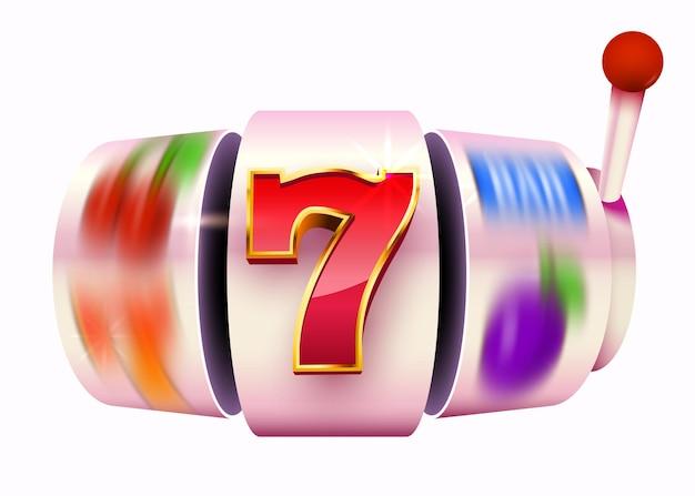 Goldener spielautomat gewinnt den jackpot. 777 casino-jackpot mit großem gewinn.