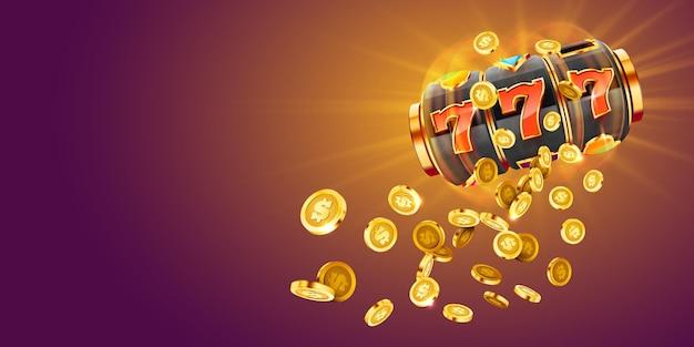 Goldener spielautomat gewinnt den jackpot big win concept casino jackpot