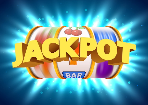 Goldener spielautomat gewinnt den jackpot. casino-jackpot mit großem gewinn.