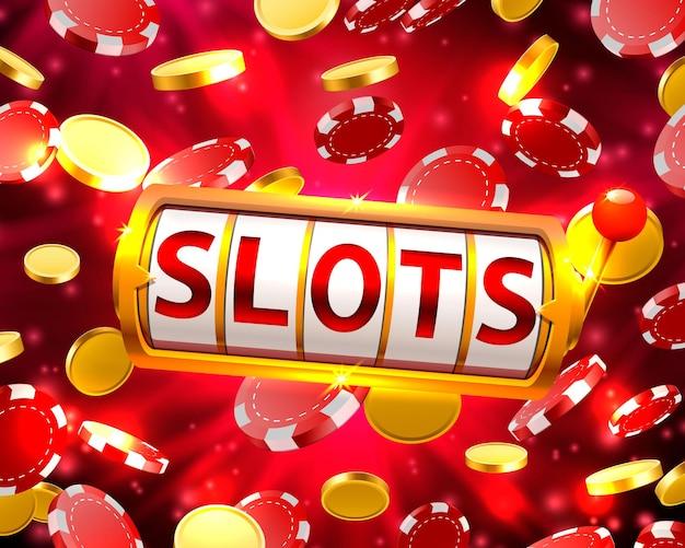 Goldener spielautomat gewinnt den jackpot. vektorillustration auf rotem hintergrund. vektor-illustration