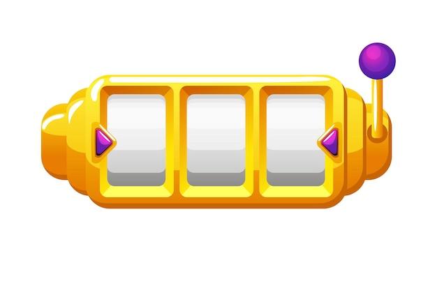 Goldener spielautomat, glücksspielvorlage für ui-spiele. vektor-illustration leere 777-spin-maschine für grafikdesign.