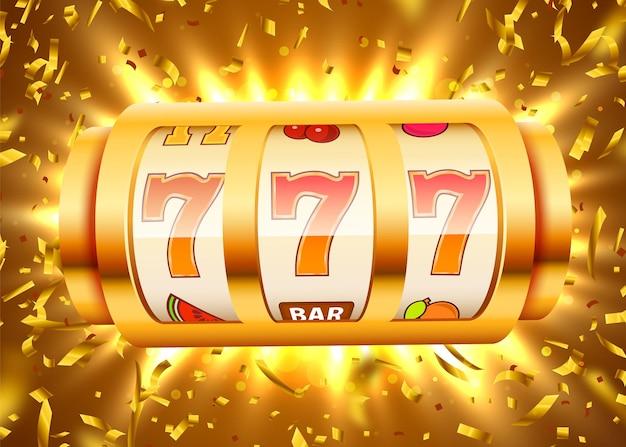 Goldener spielautomat mit fliegendem goldenem konfetti gewinnt den jackpot.