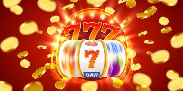 Goldener spielautomat mit fliegenden goldenen münzen gewinnt den jackpot. großer gewinn