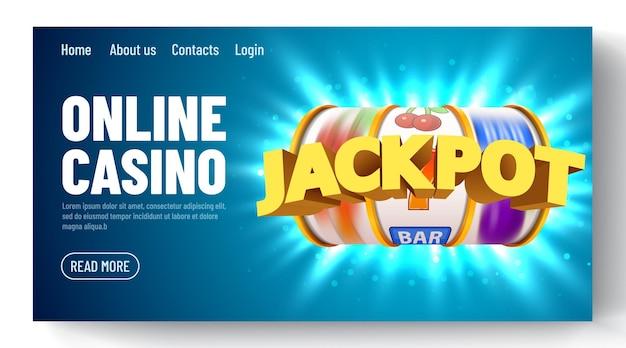 Goldener spielautomat mit fliegenden goldenen münzen gewinnt den jackpot. online casino. vorlage für eine web-landingpage