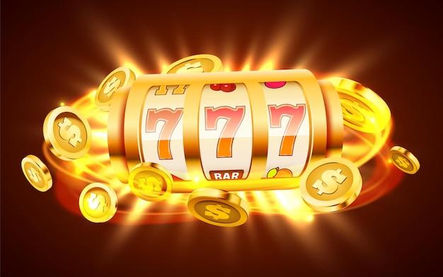 Goldener spielautomat mit fliegenden goldenen münzen gewinnt den jackpot.