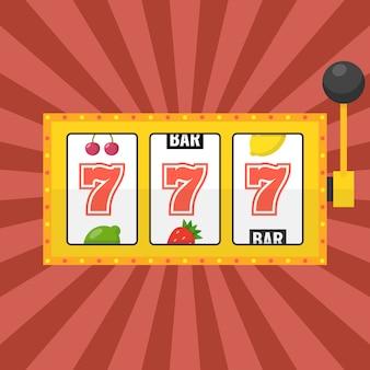 Goldener spielautomat mit glücklichem siebener-jackpot