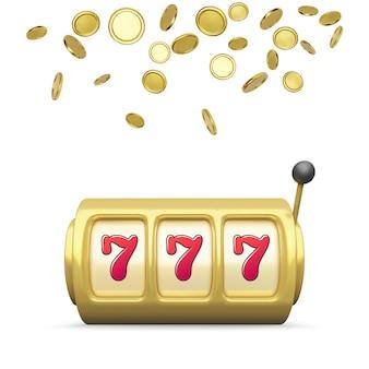 Goldener spielautomat realistisches rendern. großer gewinn beim jackpot-casino-gewinn. 777 auf spielautomatenrädern und münzen regnen im hintergrund. vektor-illustration isoliert auf weißem hintergrund