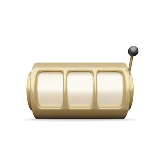 Goldener spielautomat realistisches rendern. großer gewinn beim jackpot-casino-gewinn. vektor