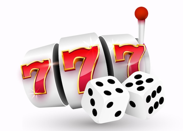 Goldener spielautomat und ein paar würfel gewinnen den jackpot. 777 casino-jackpot mit großem gewinn.