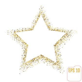Goldener stern auf weiß.