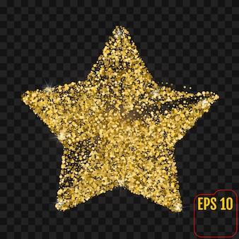 Goldener stern mit den scheinen getrennt auf schwarzem