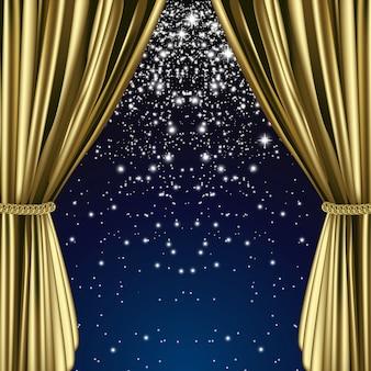Goldener sternenvorhang