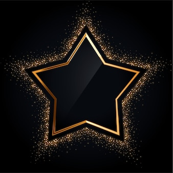 Goldener sternrahmen mit goldenem glitzer