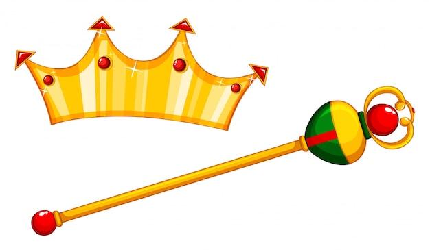 Goldener streitkolben und krone