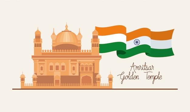 Goldener tempel des indischen amritsar mit flagge