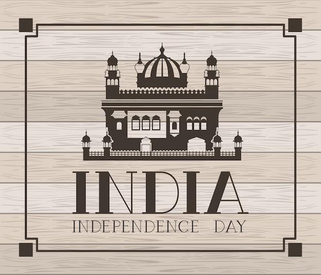 Goldener tempel des indischen amritsar mit hölzernem