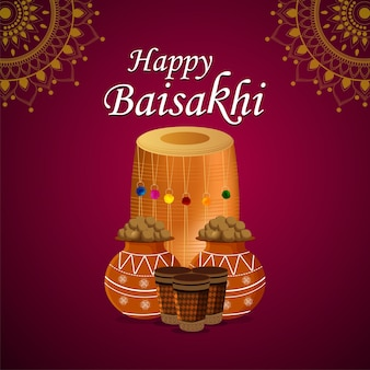 Goldener tempel und trommel der glücklichen vaisakhi-kreativen illustration