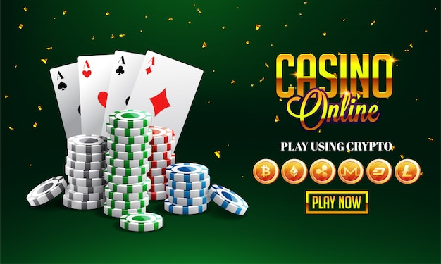 Goldener text casino online mit 3d-chip