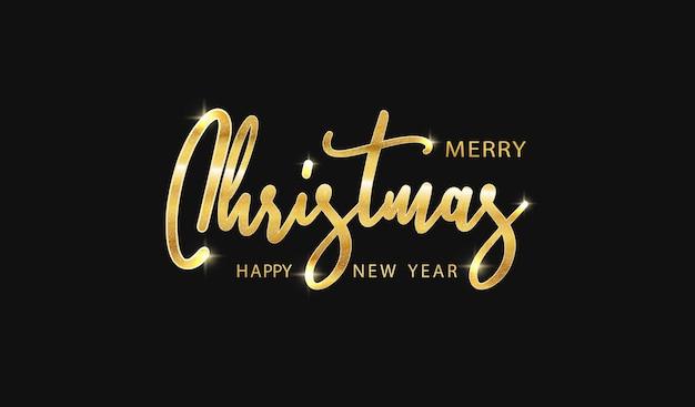 Goldener text der frohen weihnachten und des guten rutsch ins neue jahr auf schwarzem hintergrund. beschriftung für einladungs- und grußkarten, poster, druckdesign. glänzende kalligraphische vektorillustration.