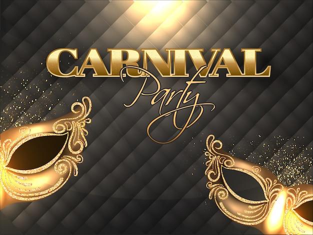 Goldener text der karnevalsparty mit funkelnden masken und lichteffekt.