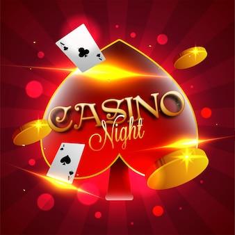 Goldener text der kasino-nacht auf spatensymbol mit rotem bokeh strahlt hintergrund aus.